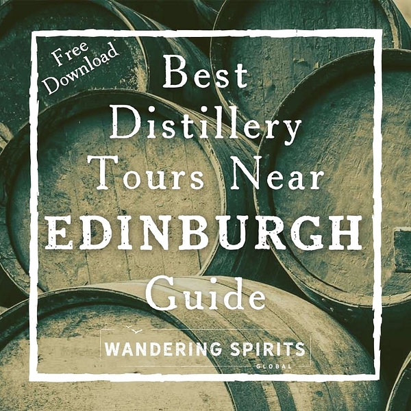 photograph of whisky barrels with text overlay best distillery tours near edinburgh guide free download