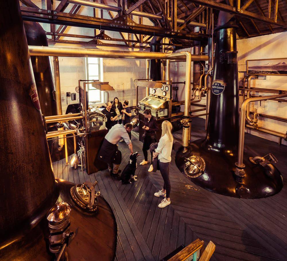 Bruichladdich distillery still room on festival day 2017 full of people and one dog