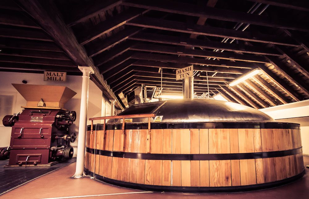 Timber clad steel mash tun at Blair Athol Distillery