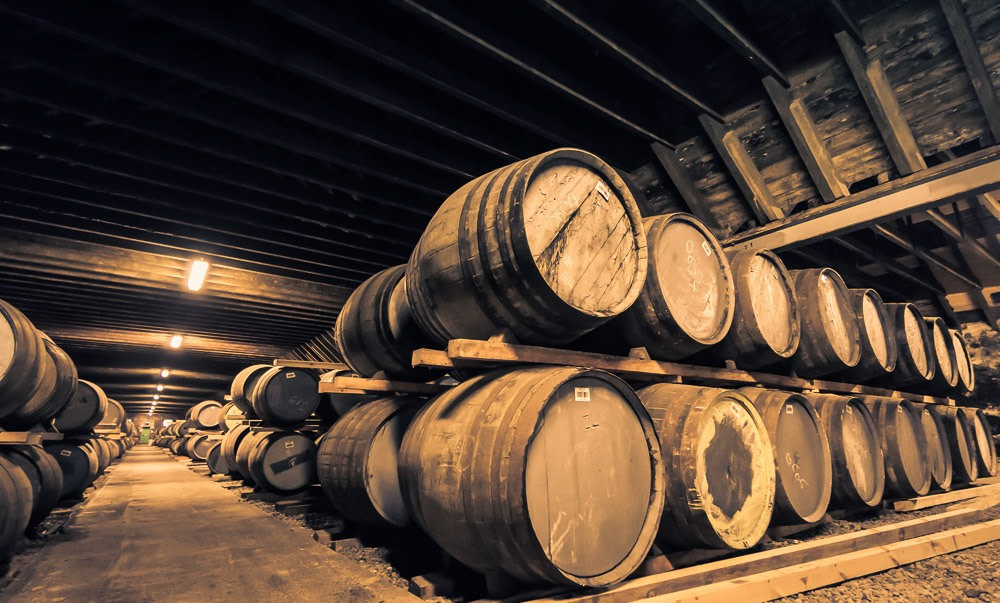Clynelish Brora distillery warehouse and casks - double stack, dunnage storage