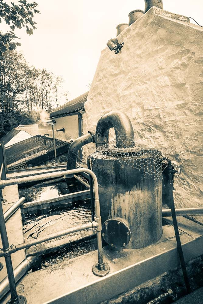 Spirit Purifier leading from Low-Wines/Spirit Still into a Worm Tub Condenser at Edradour Distillery