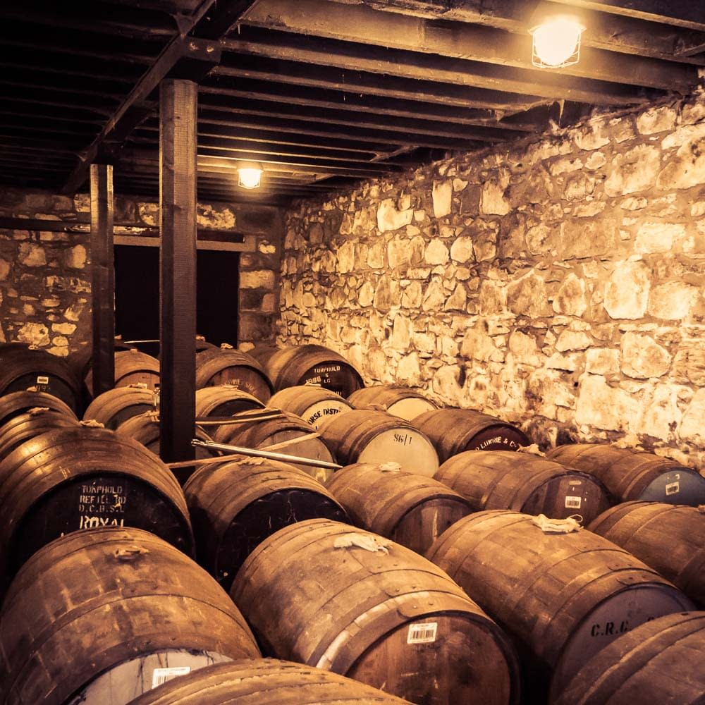 Royal Lochnagar has an unnusual feature: a duty paid warehouse. The warehouse is used by Diageo as a training acadamy for their Malt Avocates (sales and promotions people).