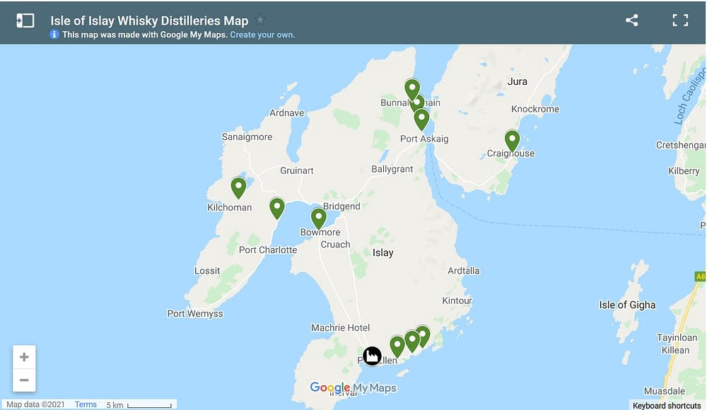 screen capture of islay whisky distillery map