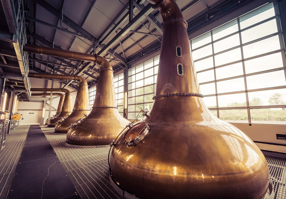 Five of the stills at Glen Ord Distillery home of the Singleton whisky