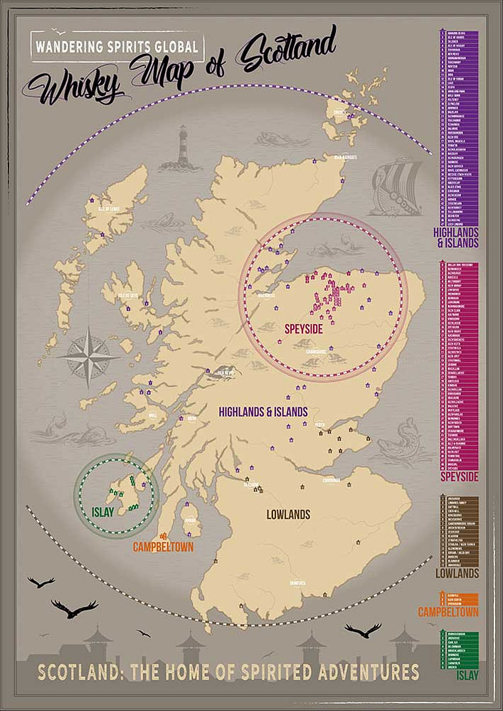 Illustrated Map of Whisky Distilleries in Scotland