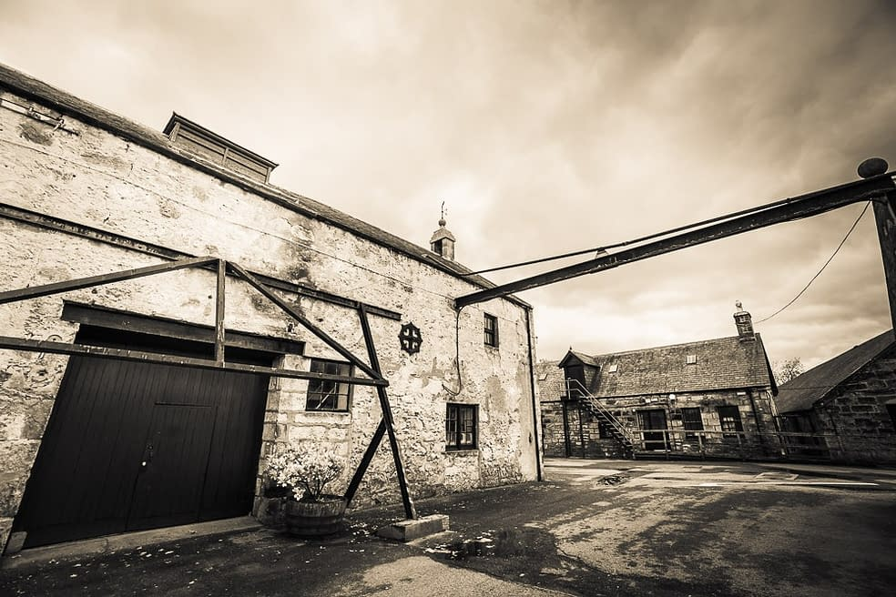 Black and white photo of the Clynelish Brora Still Room