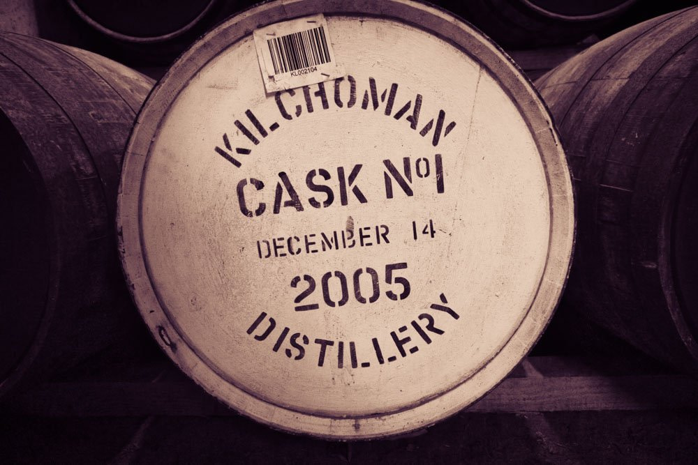 """Front view of Cask number one at Kilchoman Distillery. Writing on cask says 'Kilchoman Distillery Cask Number One December 14, 2005"""""""