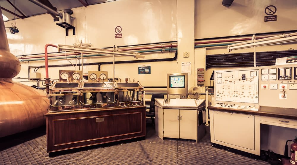 The starship command centre at Glenfarclas Distillery. Spirit safe on the left, late 1970s/ early 80s era control panel on the right.