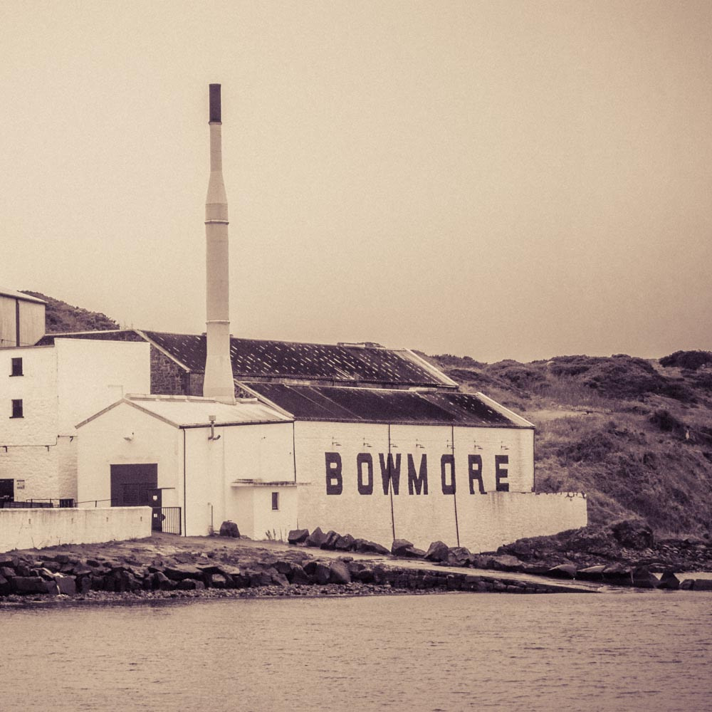 Close up of Bowmore distillery viewed from Bowmore Pier