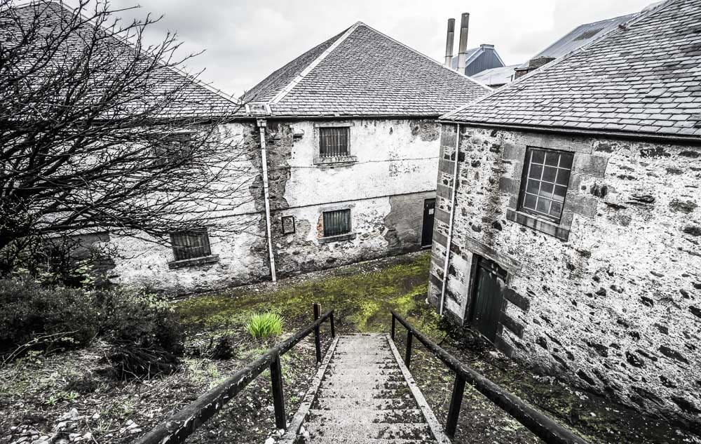 Rickety pathway from the old village houses to the distillery at Bunnahabhain