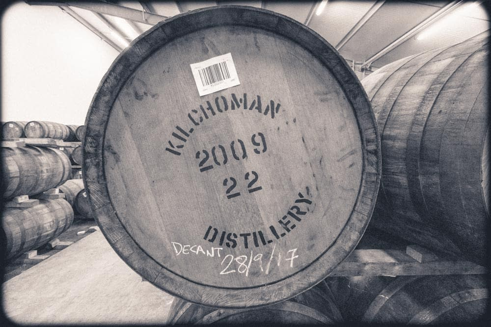 Purple toned black and white photograph of a 2009 Kilchoman Distillery Cask, decanted 28 Sept 2017.