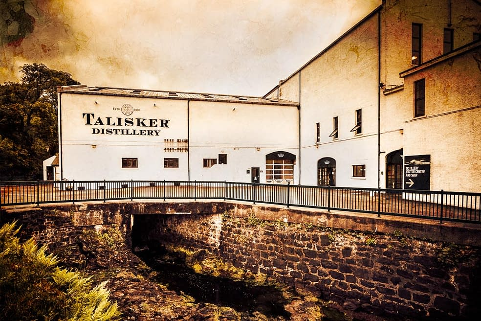 Talisker Distillery with a grungy textured overlay