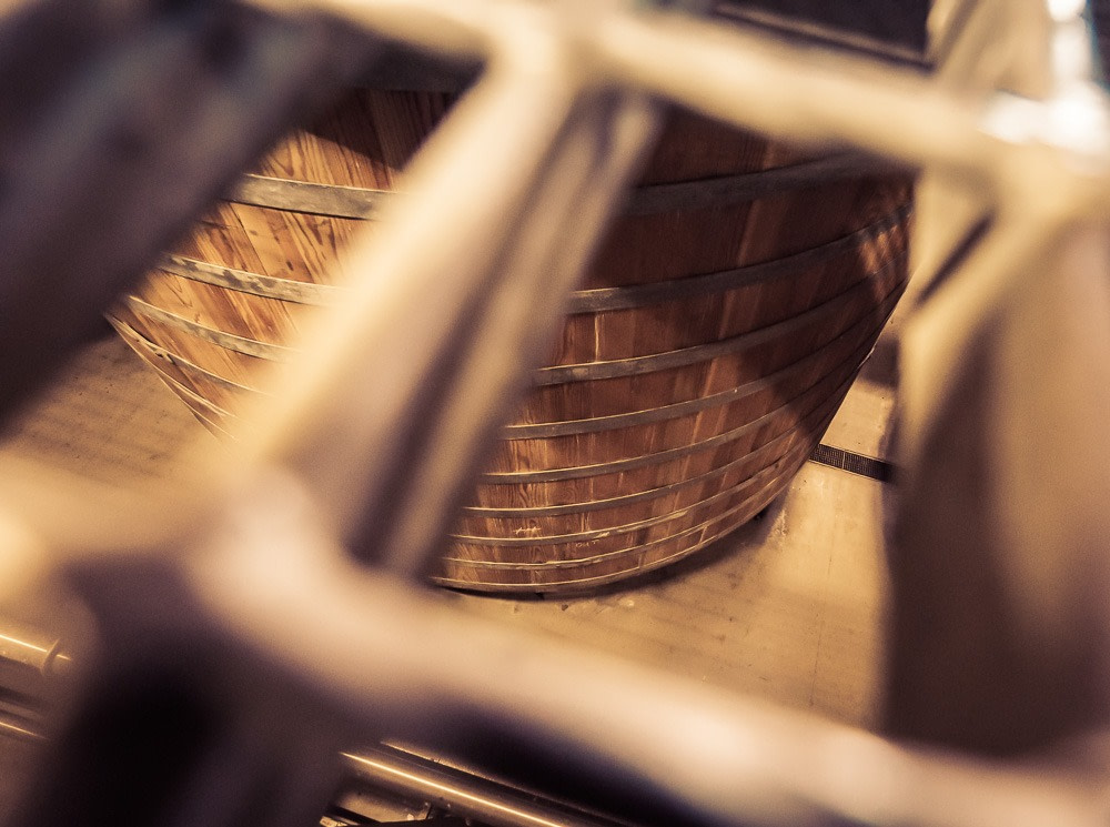 View of a Glen Ord Distillery Washback through the mesh floor