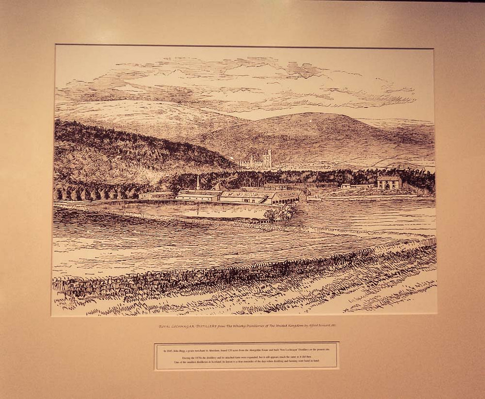 Photograph of a framed sketch by Alfred Barnard of Royal Lochnagar when he visited around 1885-1887