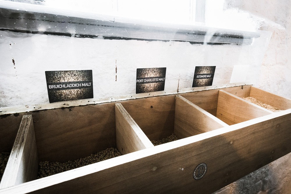 Malted barley sample bins at Bruichladdich distillery