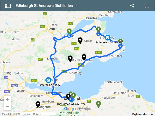 screen shop of interactive google map showing distilleries from Edinburgh to St Andrews
