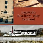 Three photographs of Lagavulin whisky distillery; a close up shot of the front, a landscape view from Dunyvaig Castle, and a close of of a Lagavulin Washback
