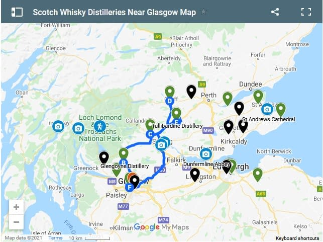 Screen shot of google map showing best whisky distilleries to visit on a road trip from Glasgow