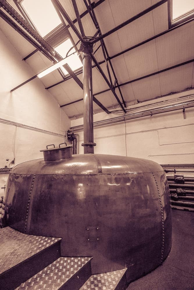 A copper kettle at Bowmore Distillery