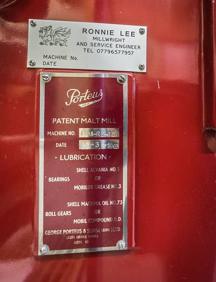 Lagavulin's Porteus Patent Malt Mill, Machine No. MM-RB-15, Date: 16-3-1963. Maintained by Ronnie Lee