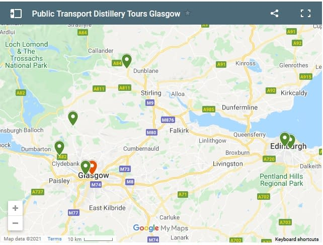 screen shot of google map showing distilleries accessible by public transport from Glasgow