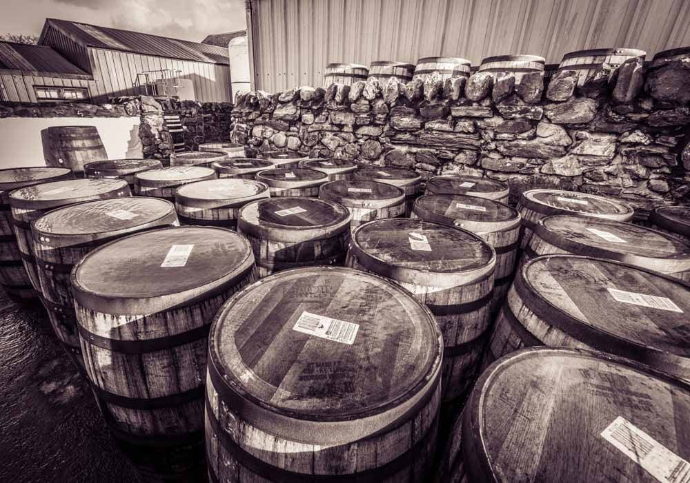 Buffalo Trace whiskey casks for filling at Kilchoman Distillery, Islay, Scotland. Black and white photograph
