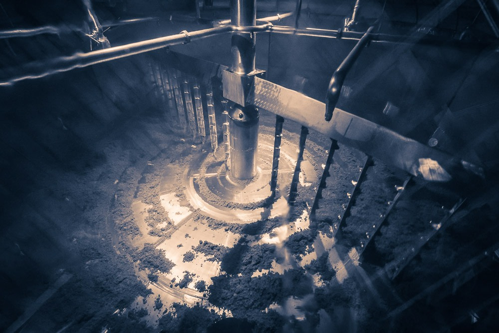 Inside the steel mash tun at Blair Athol Distillery