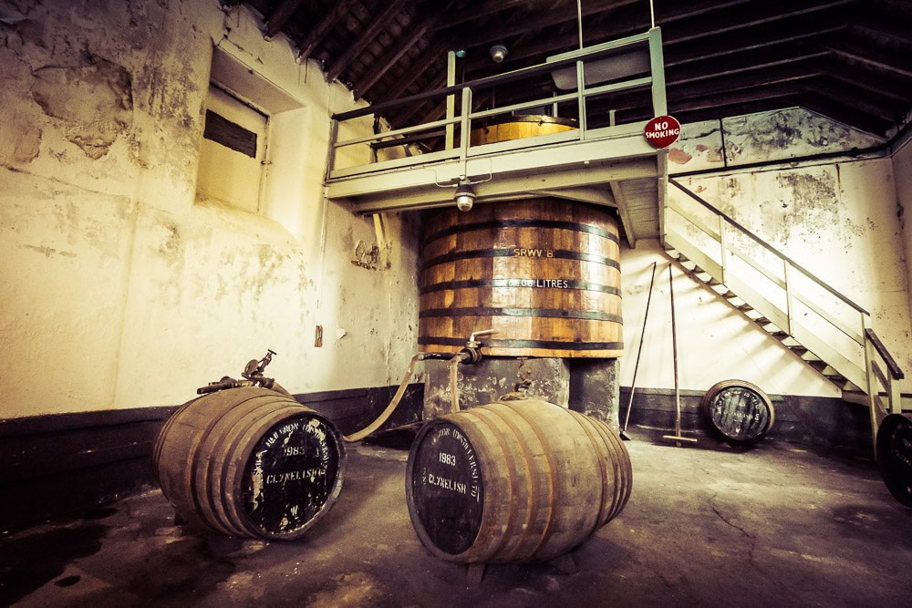 Clynelish Brora spirit receiver vat, filling hose and casks