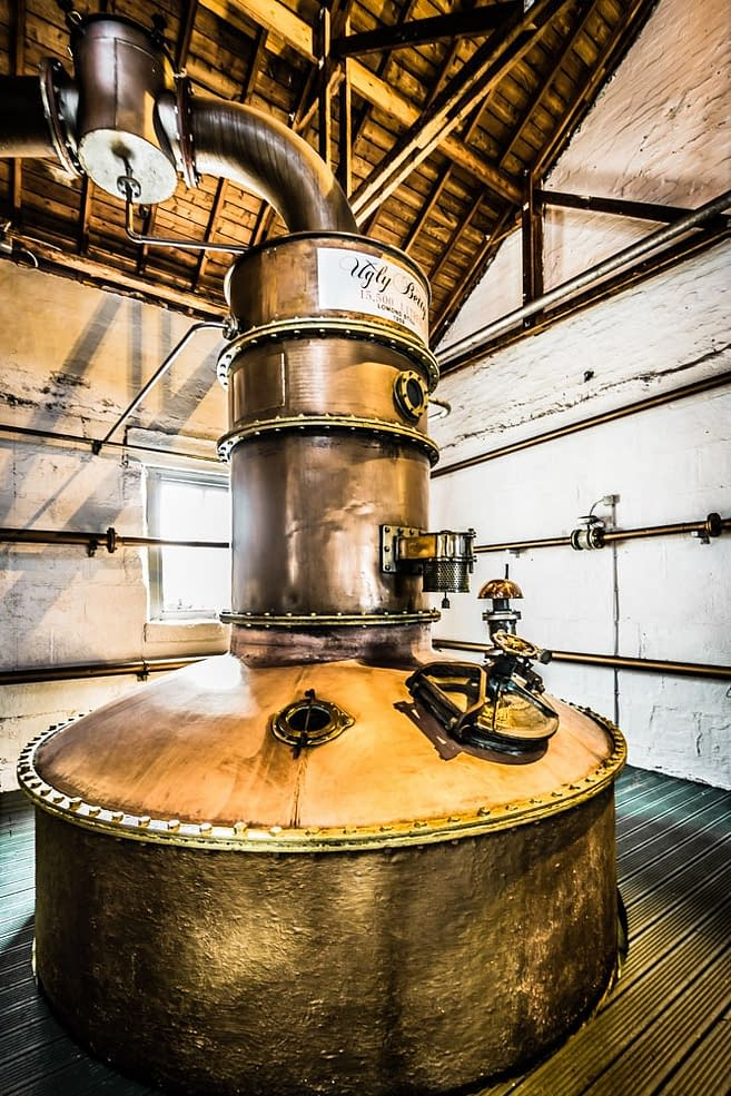 Dark grungy pic of Lomond still named Ugly Betty at Bruichladdich distillery use to make The Botanist Gin
