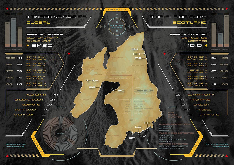 Illustrated Islay Distillery Map as a Heads Up Display